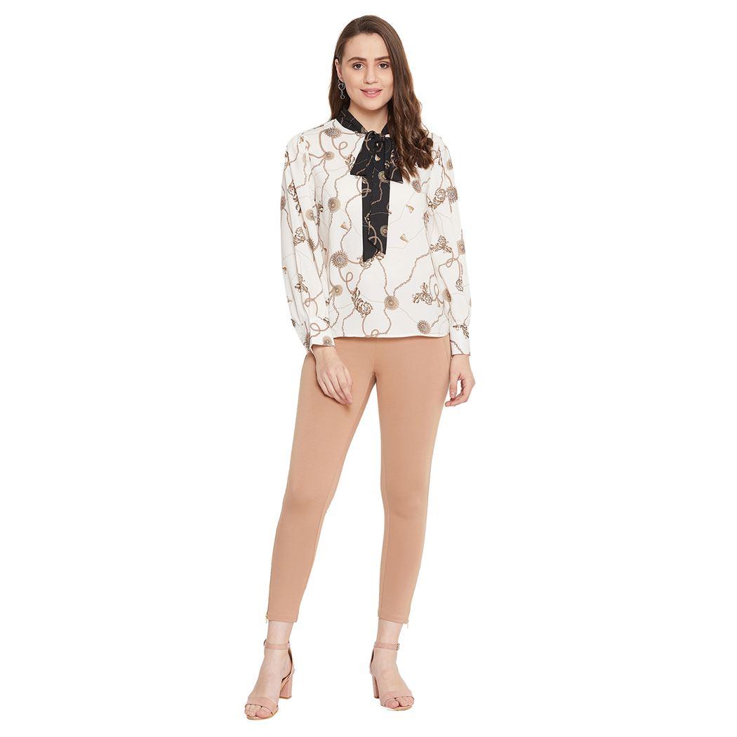 Madame Women Casual Wear Beige Jeggings