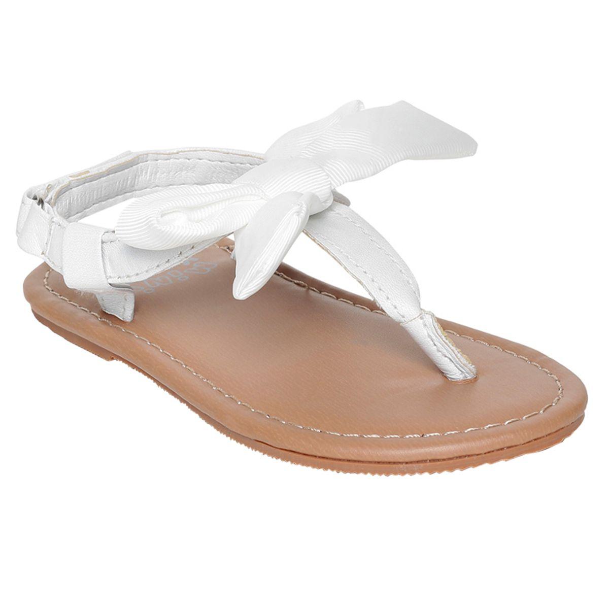 Miniklub Girls White Solid  Hardsole Sandals