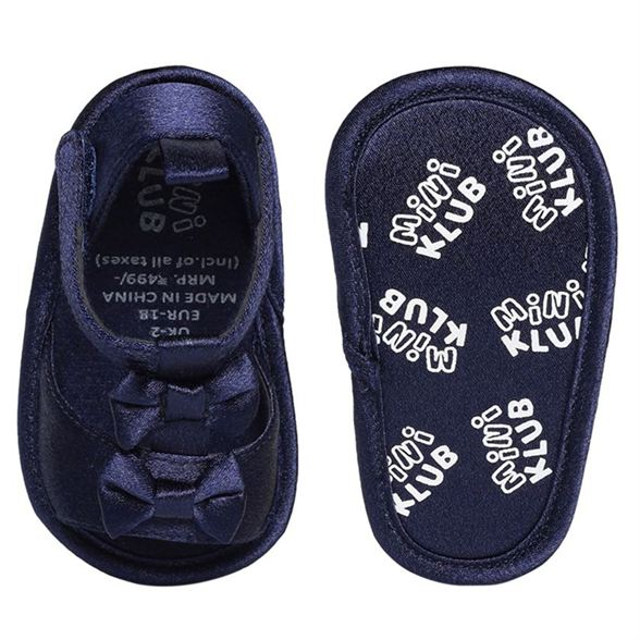 Miniklub Girls Navy Blue Textured Softsole Sandals