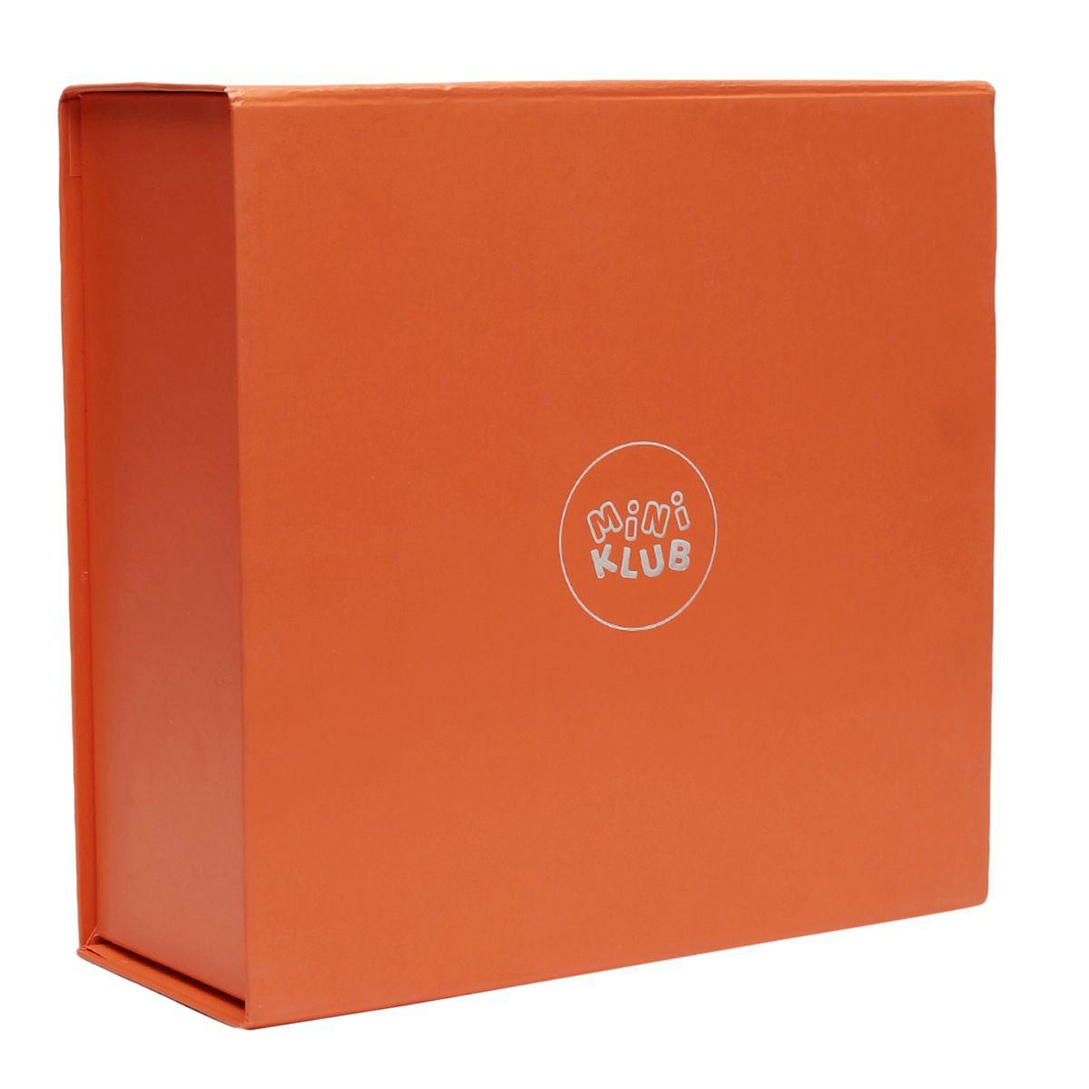 Miniklub Unisex Orange Printed Pack of a sleepsuit, a Hoodie, a milestone box & a Toy