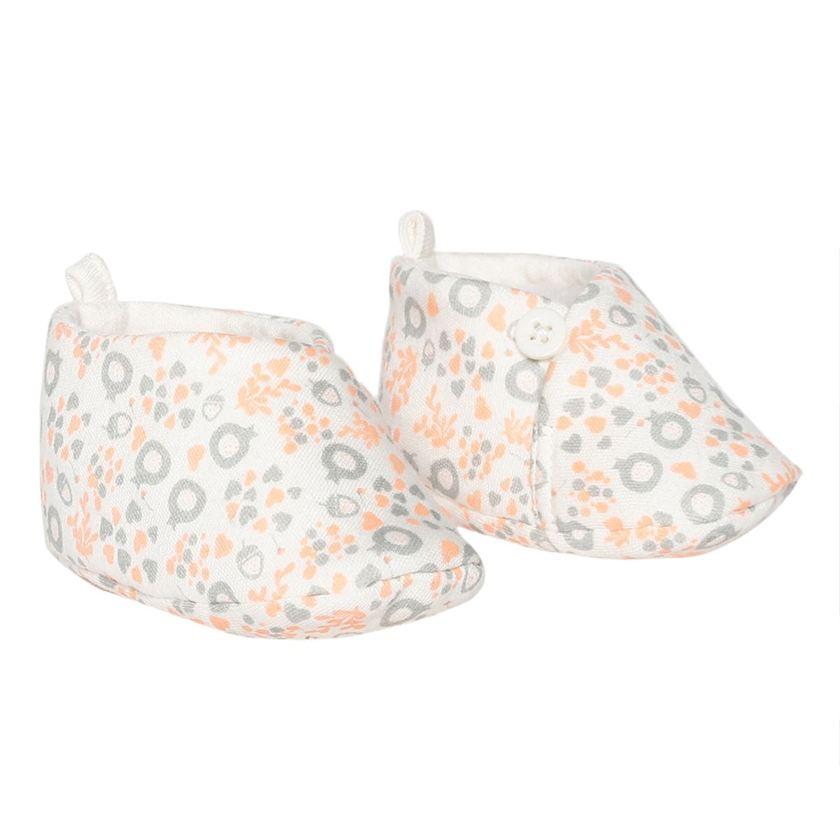 Miniklub Girls Printed White Pair of Booties