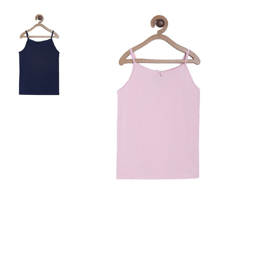 Miniklub Girls Multicolor Solid Pack of 2 Camisole