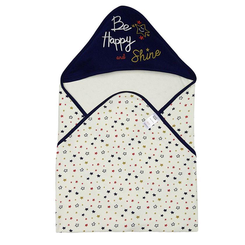 Miniklub Boys Printed Off White Baby Wrapper