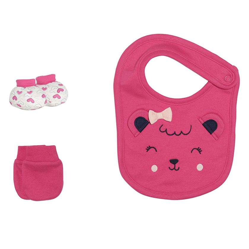Miniklub Girls Pink Printed Pack of 1 Bib,2 Booties & 2 Mittens