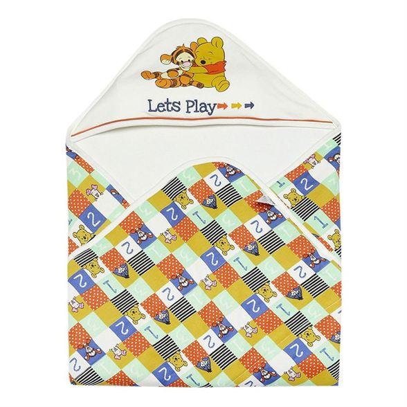 Miniklub Unisex Printed Off White Baby Wrapper