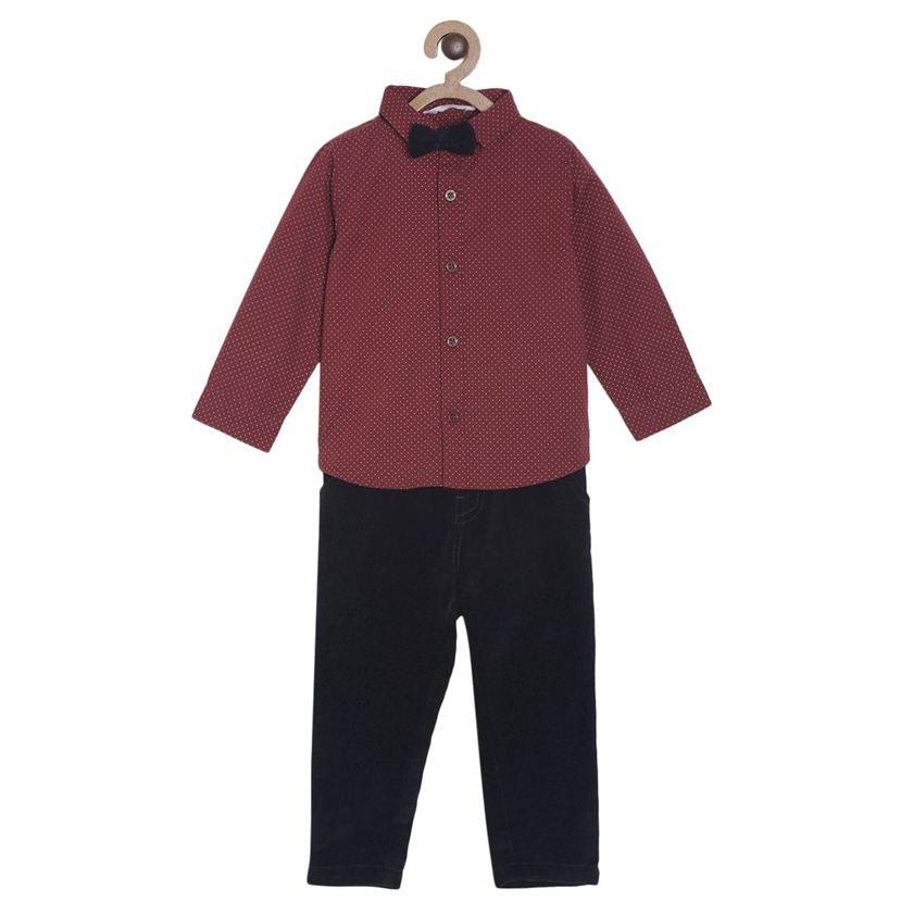 Miniklub Boys Multicolor Polka Print Shirt, Pant and Bow Set