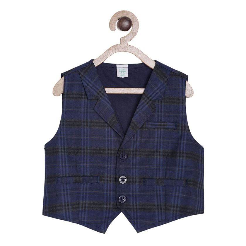 Miniklub Boys Blue Checkered Waistcoat