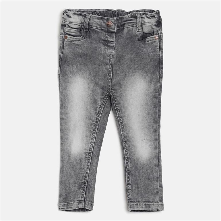 Miniklub Girls Grey Solid Jeans