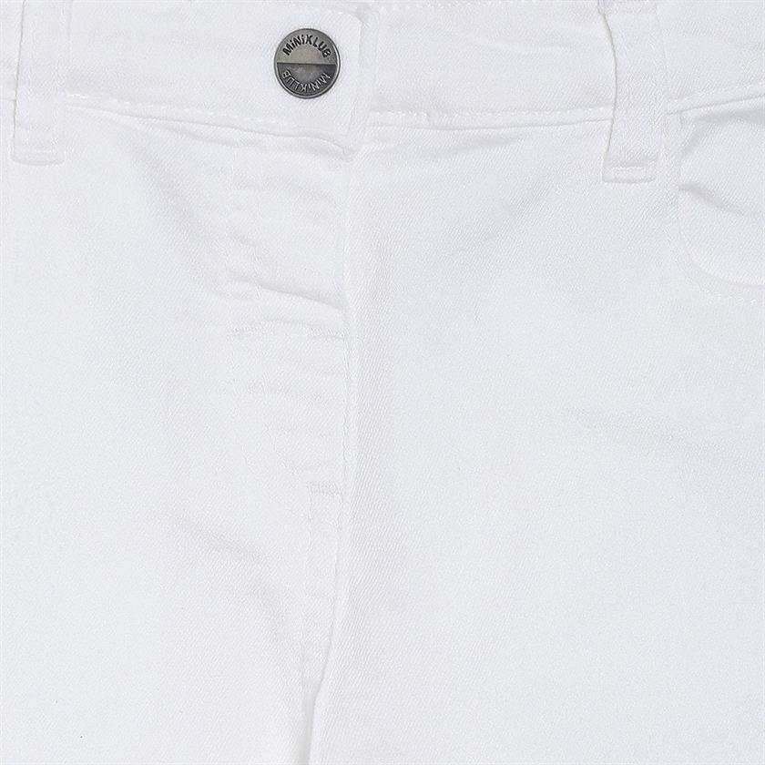 Miniklub Girls White Solid Jeans
