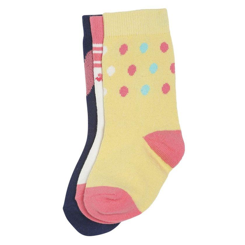 Miniklub Girls Multicolor Woven Pack of 3 Pair of Socks