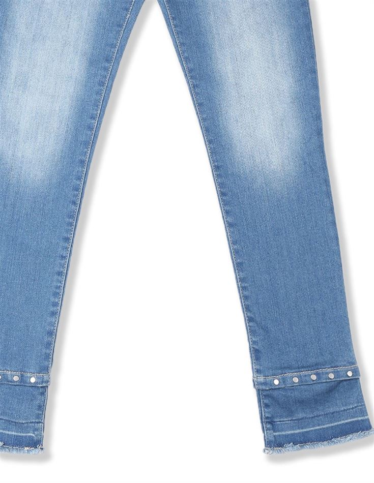 The Children's Place Girls Blue Stud Hem Distressed Denim Jeans