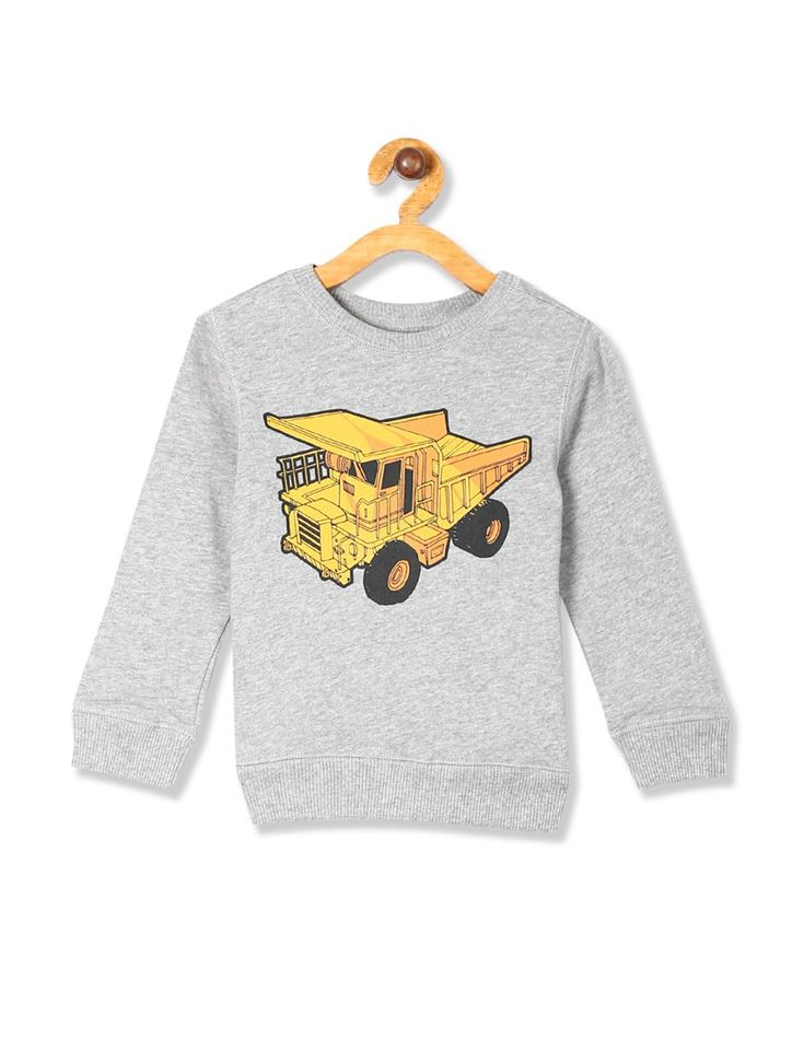 The Children's Place Baby And Toddler Boy Grey Active Long Sleeve Graphic French Terry Sweatshirt