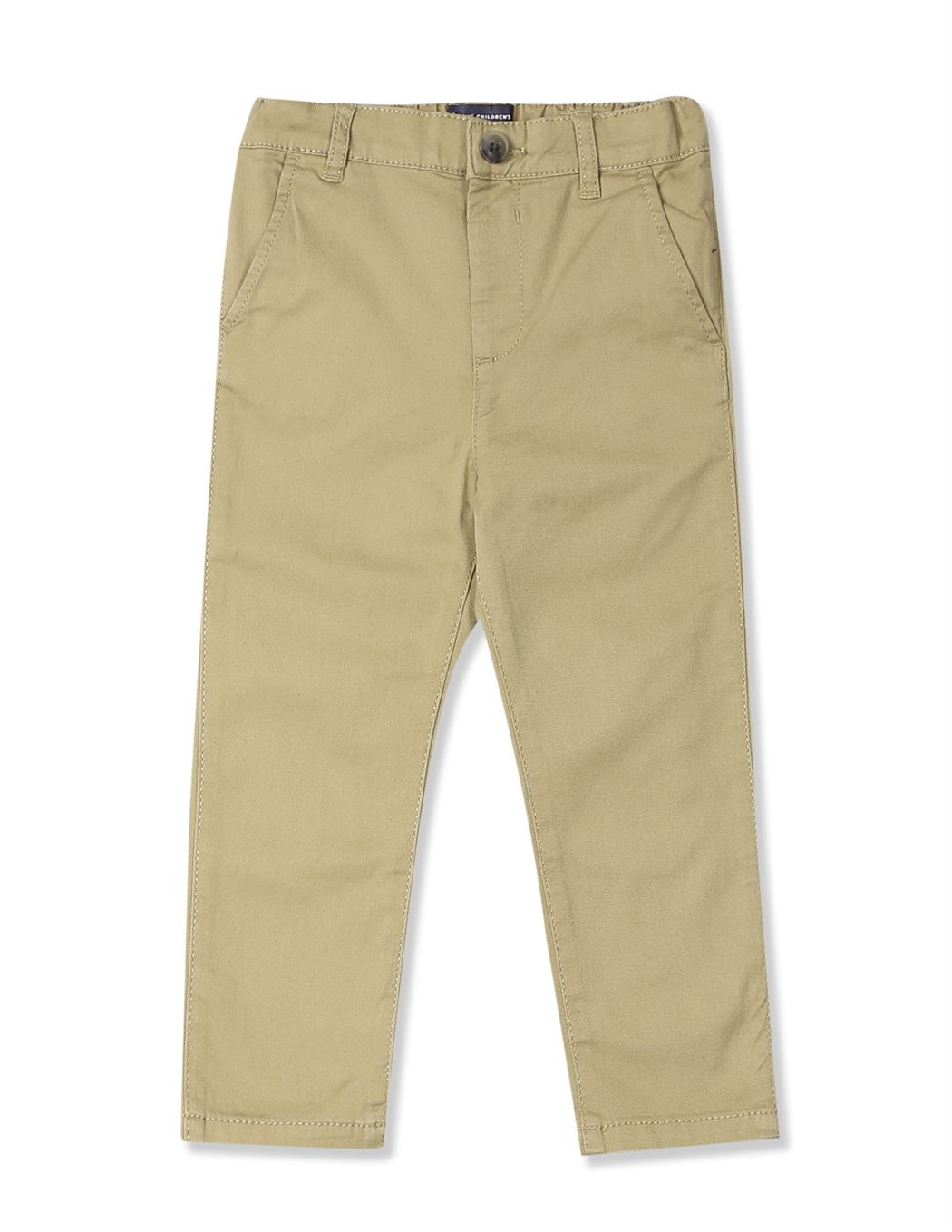 The Children's Place Baby Boy Beige Skinny Fit Solid Chinos