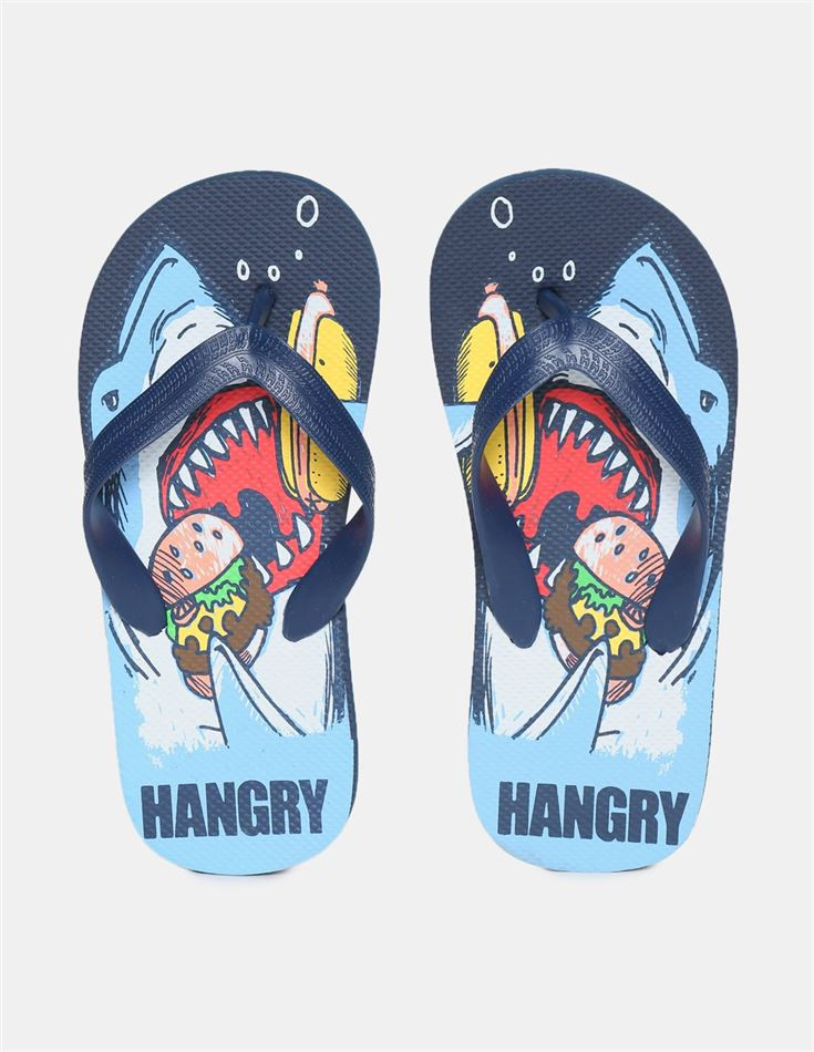 The Children's Place Boys Blue V-Strap Printed Flip Flops