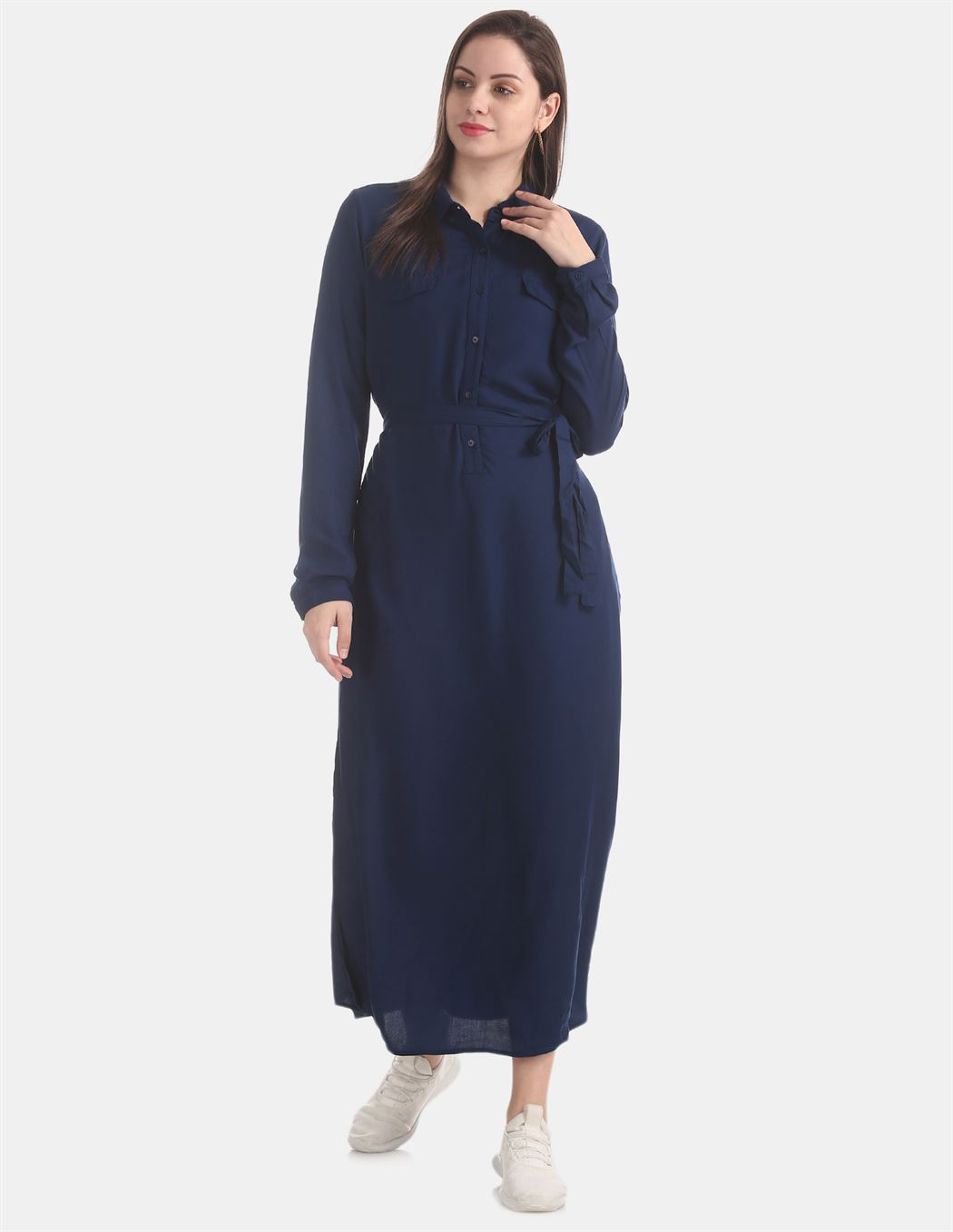 U.S. Polo Assn. Blue Belted Shirt Dress