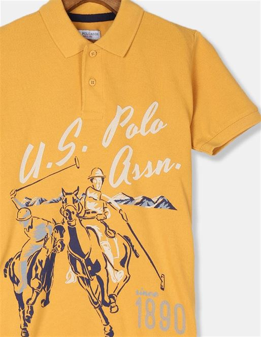 U.S. Polo Assn. Boys Yellow Front Print Pique Polo Shirt