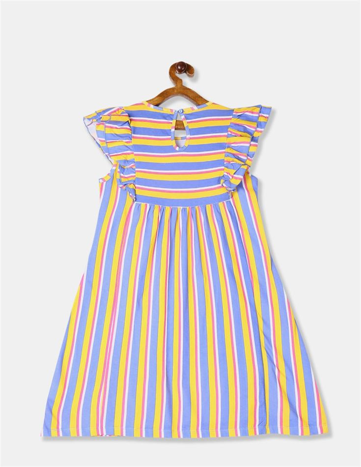 U.S. Polo Assn. Girls Blue And Yellow Stripe Ruffled Knit Dress