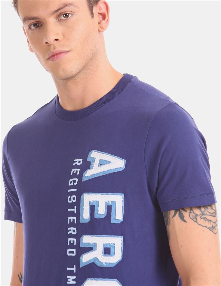Aeropostale Men Casual Wear Blue T-Shirt