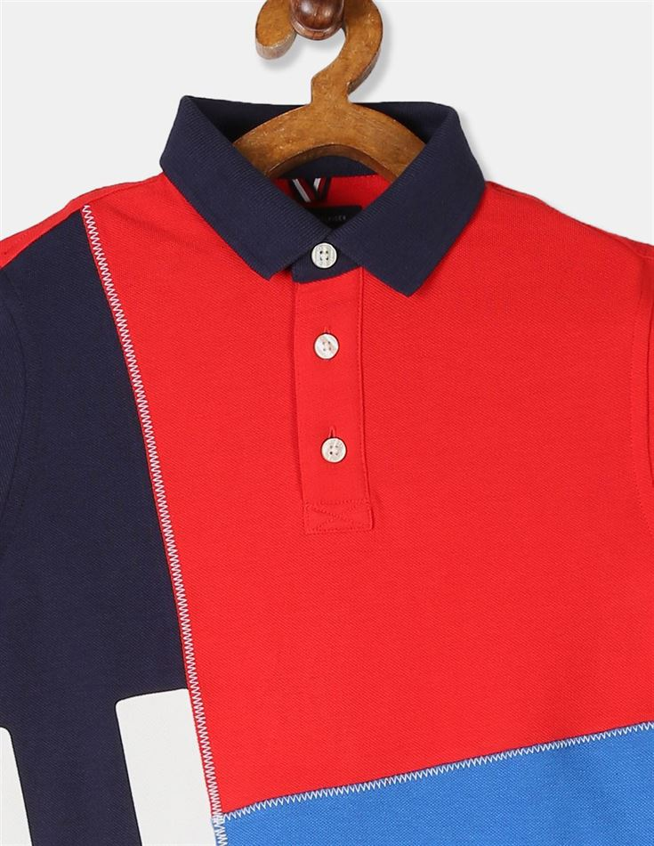 Tommy Hilfiger Boys Red And Blue Short Sleeve Logo Polo Shirt