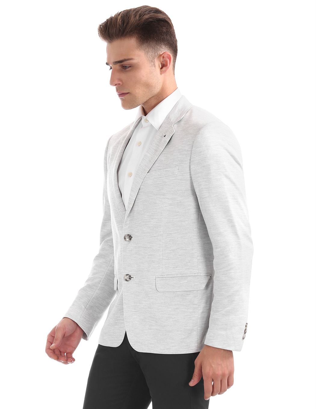 Arrow New York Men Formal Wear Grey Single Breasted Blazer