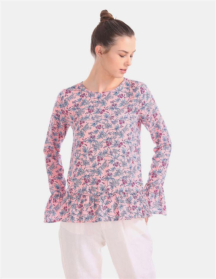 U.S. Polo Assn. Flared Hem Floral Print Top