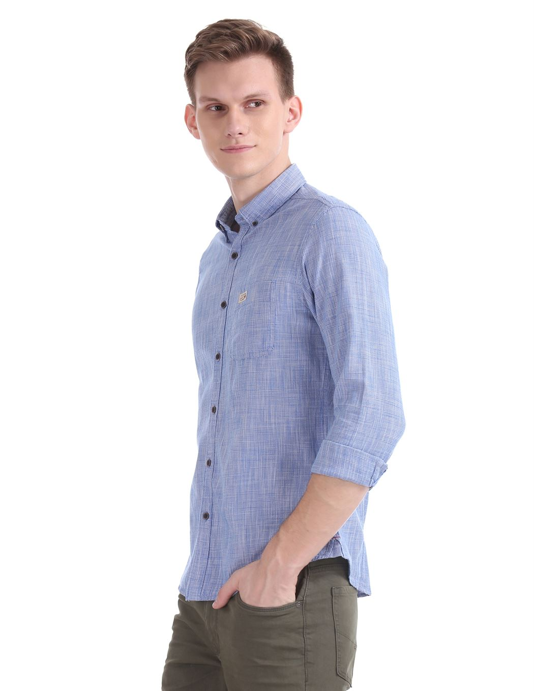 U.S. Polo Assn. Men Casual Wear Blue Shirt