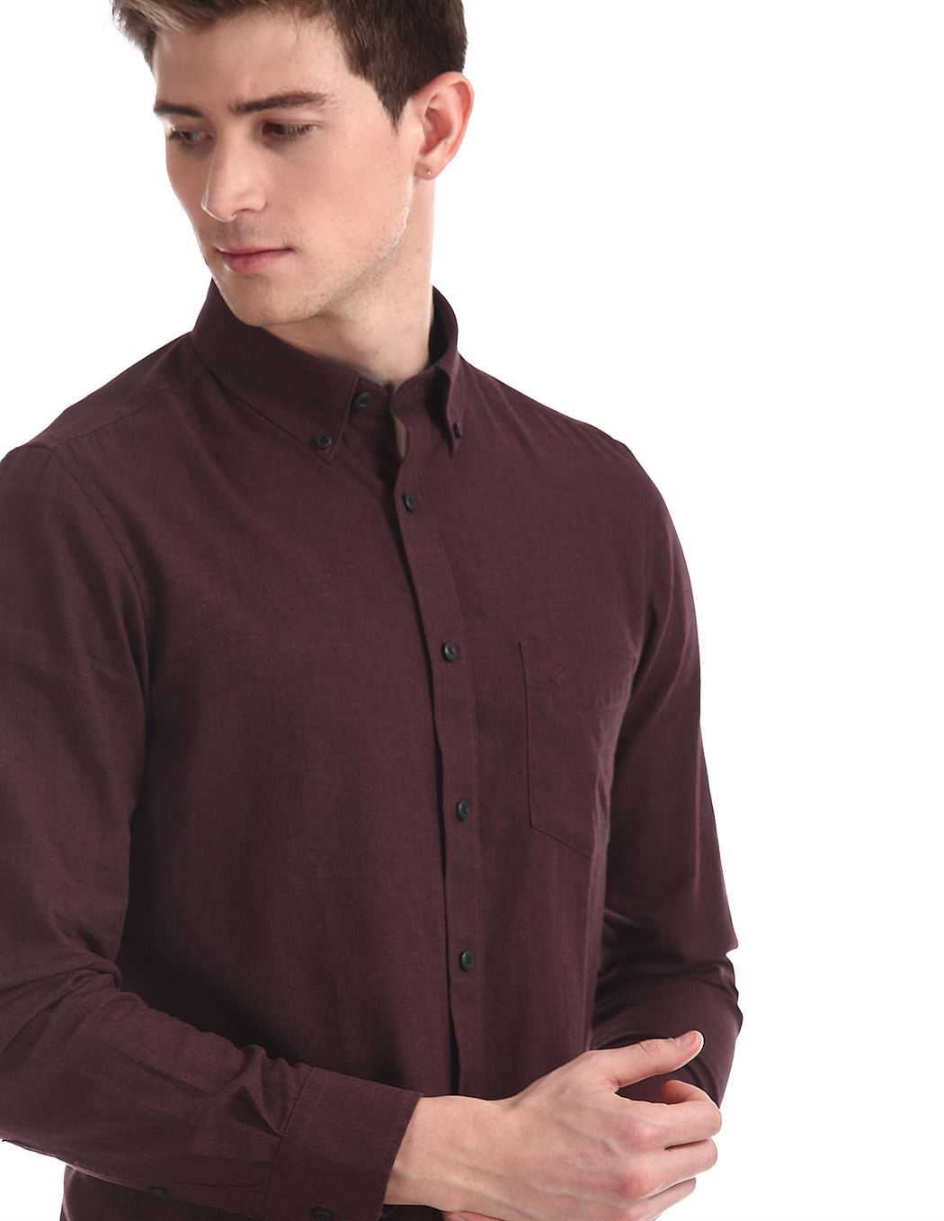 Arrow Sports Men Casual Wear Burgundy Shirt