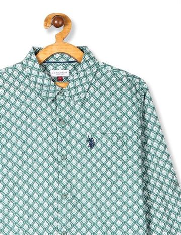 U.S. Polo Assn. Green Boys Spread Collar Printed Shirt