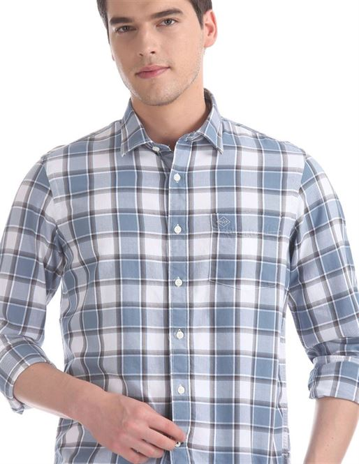 Arrow Sports Men Casual Wear Blue Shirt