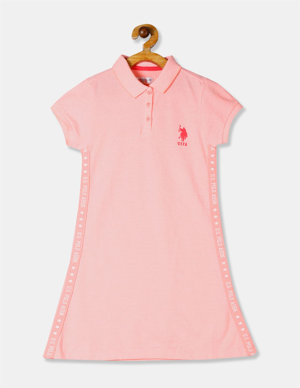 U.S. Polo Assn. Girls Orange Solid Polo Shirt Dress