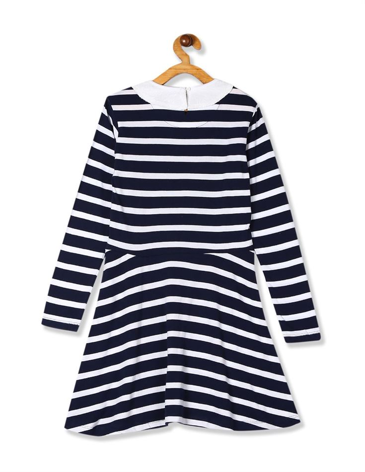 U.S. Polo Assn. Girls Navy And White Peter Pan Collar Knit Dress