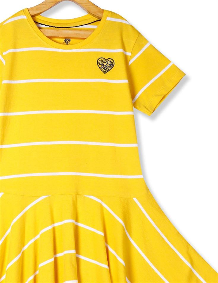 U.S. Polo Assn. Girls Yellow Striped Fit And Flare Dress