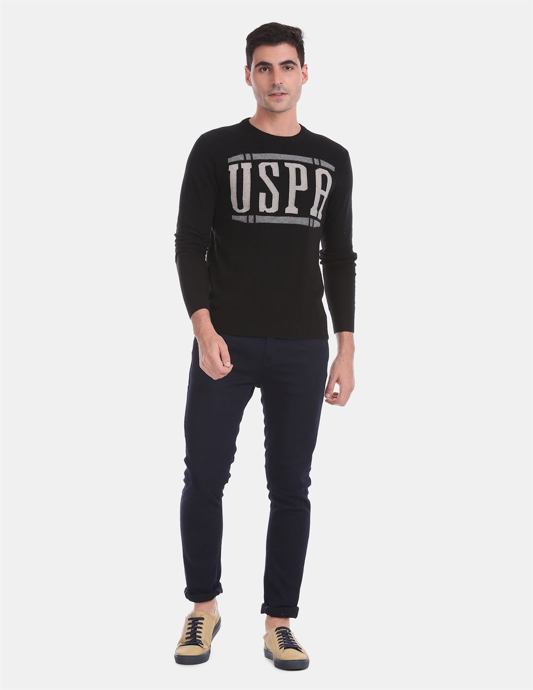 U.S. Polo Assn. Men Casual Wear Black Sweater