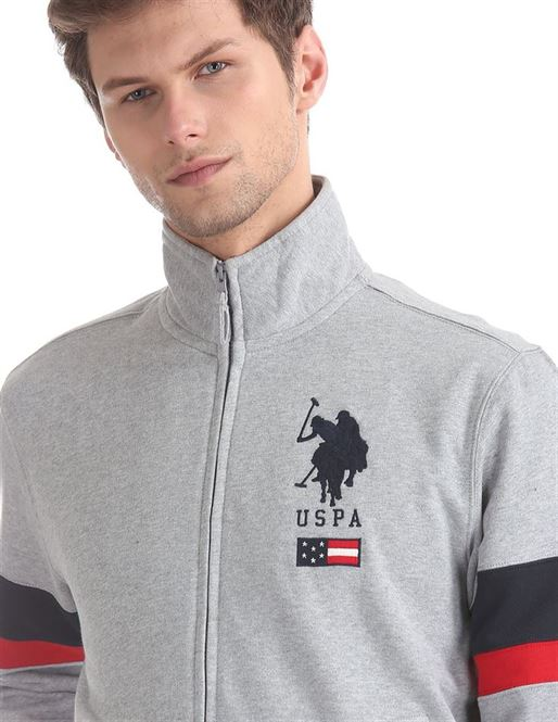 U.S. Polo Assn. Men Casual Wear Grey Sweatshirt