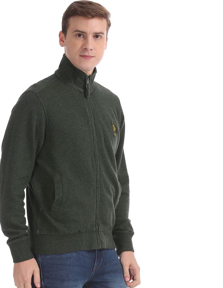 U.S. Polo Assn. Men Casual Wear Dark Green Sweatshirt