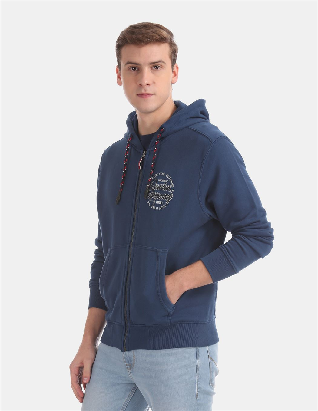 U.S. Polo Assn. Men Casual Wear Blue Sweatshirt