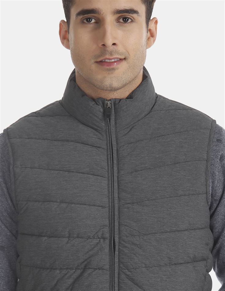 U.S. Polo Assn. Men Casual Wear Grey Quilted Jacket