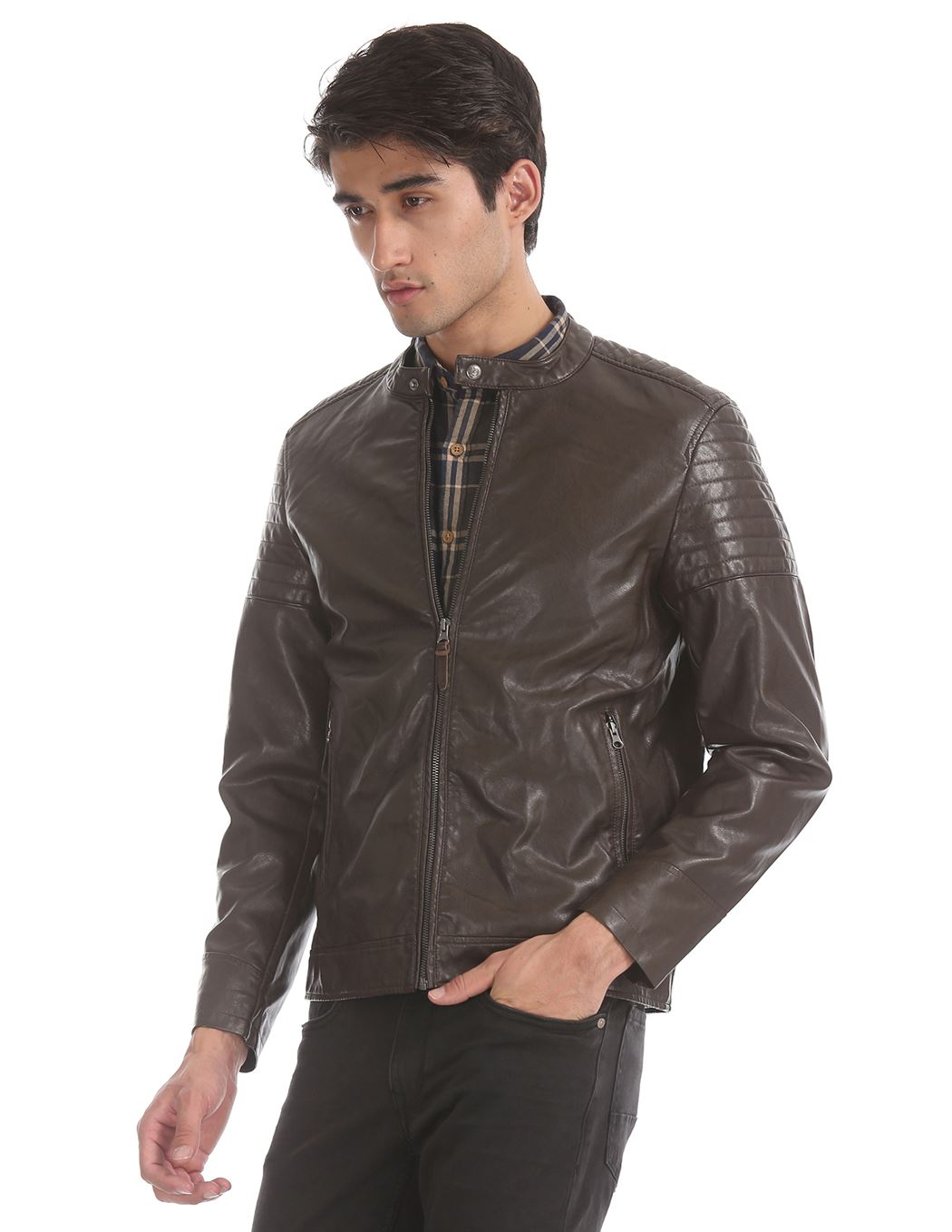 U.S. Polo Assn. Men Casual Wear Brown Biker Jacket