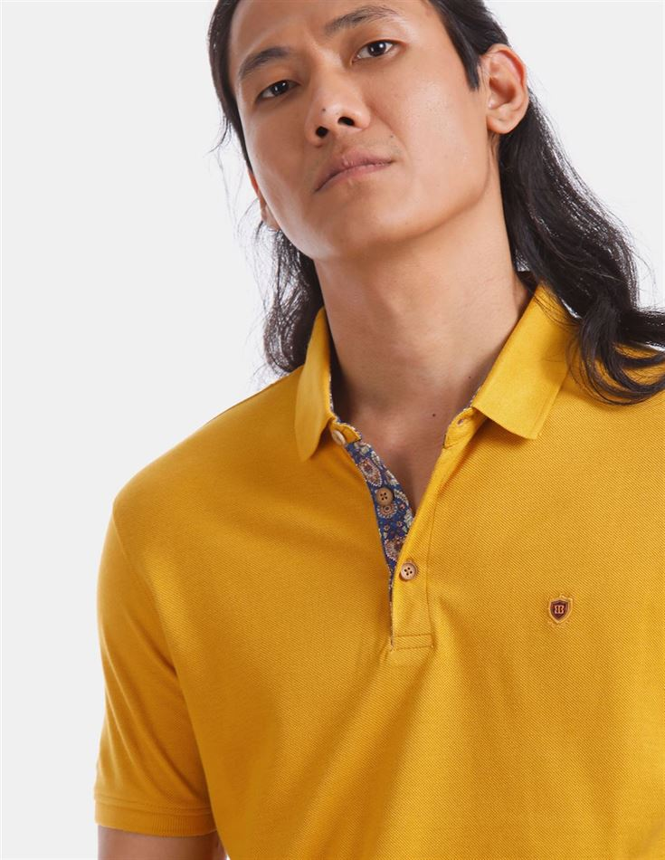 True Blue Men Casual Wear Yellow T-Shirt