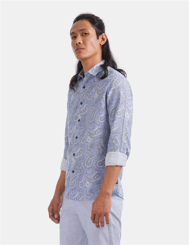 True Blue Men Casual Wear Sky Blue Shirt