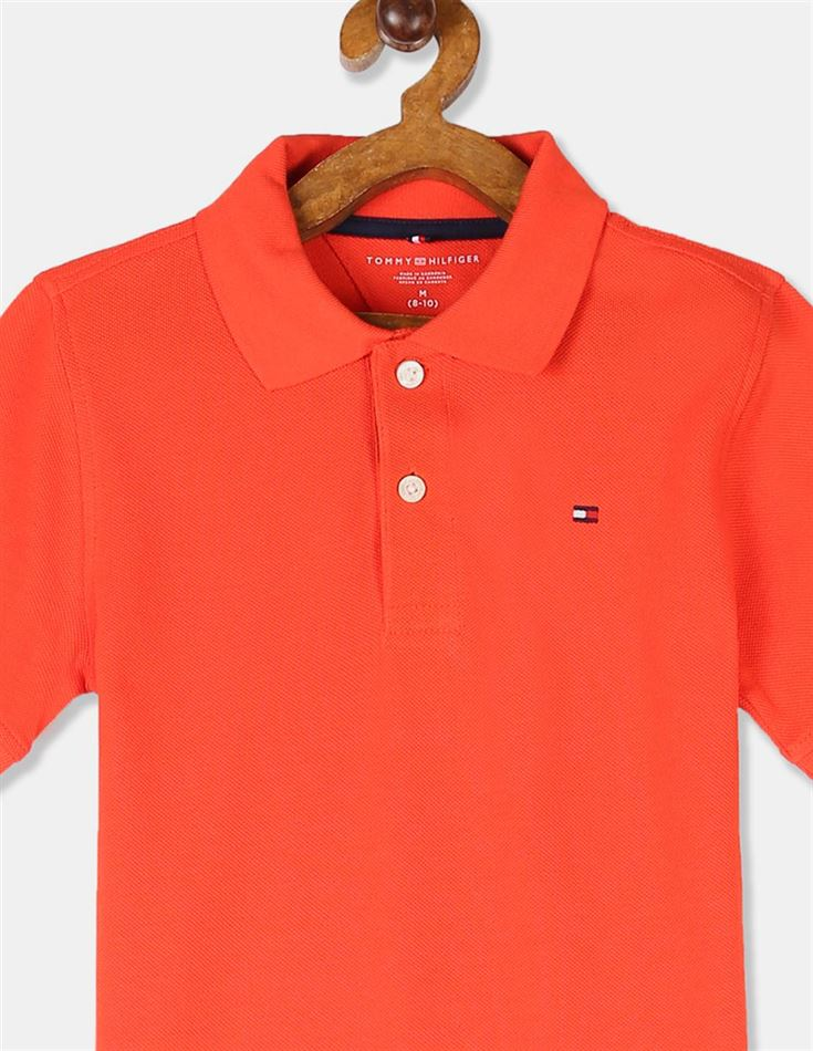 Tommy Hilfiger Boys Orange Short Sleeve Solid Holiday Polo Shirt