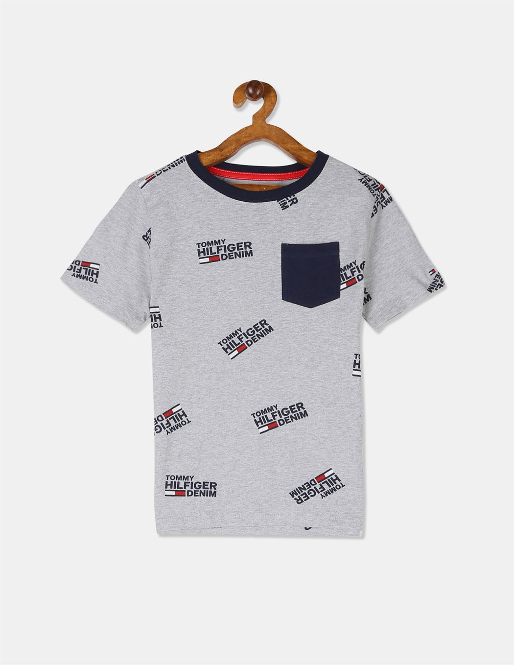 Tommy Hilfiger Boys Grey Short Sleeve Allover Print Patch Pocket T-Shirt