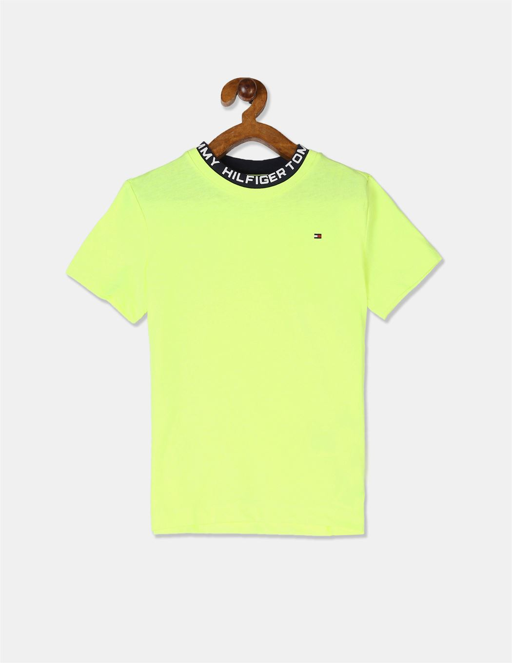Tommy Hilfiger Boys Yellow Short Sleeve Printed Ribbed Crew Neck T-Shirt