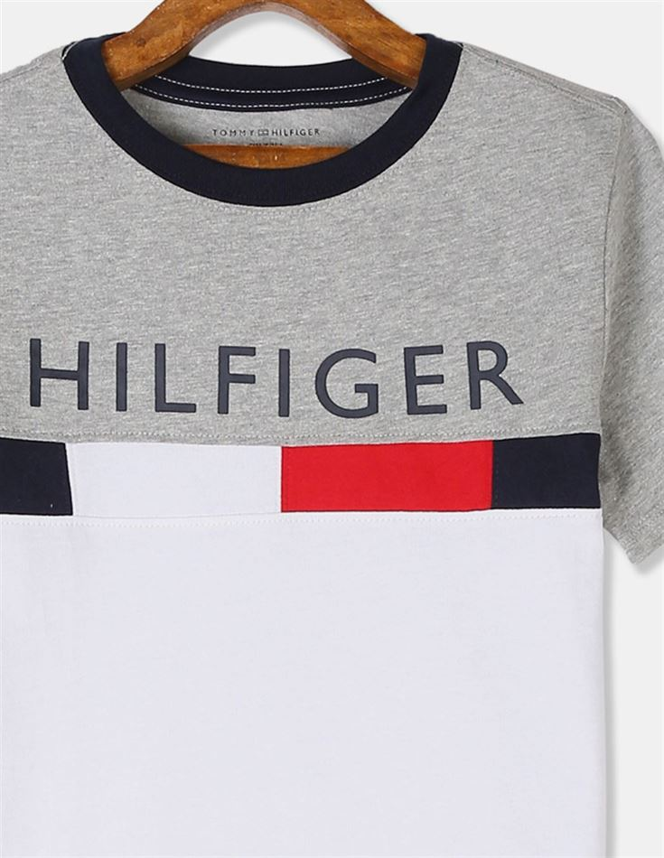Tommy Hilfiger Boys Grey And White Short Sleeve Colour Blocked T-Shirt