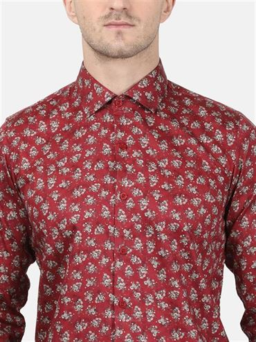 Monte Carlo Men Casual Wear Maroon Shirt
