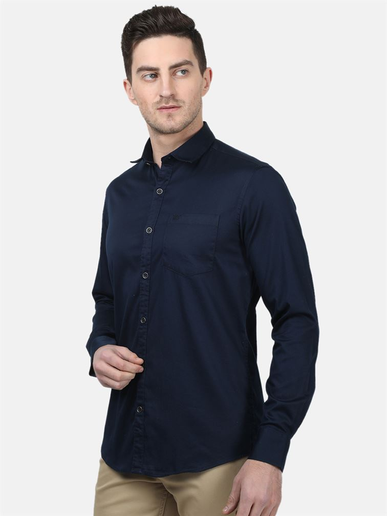 Monte Carlo Men Casual Wear Navy Shirt