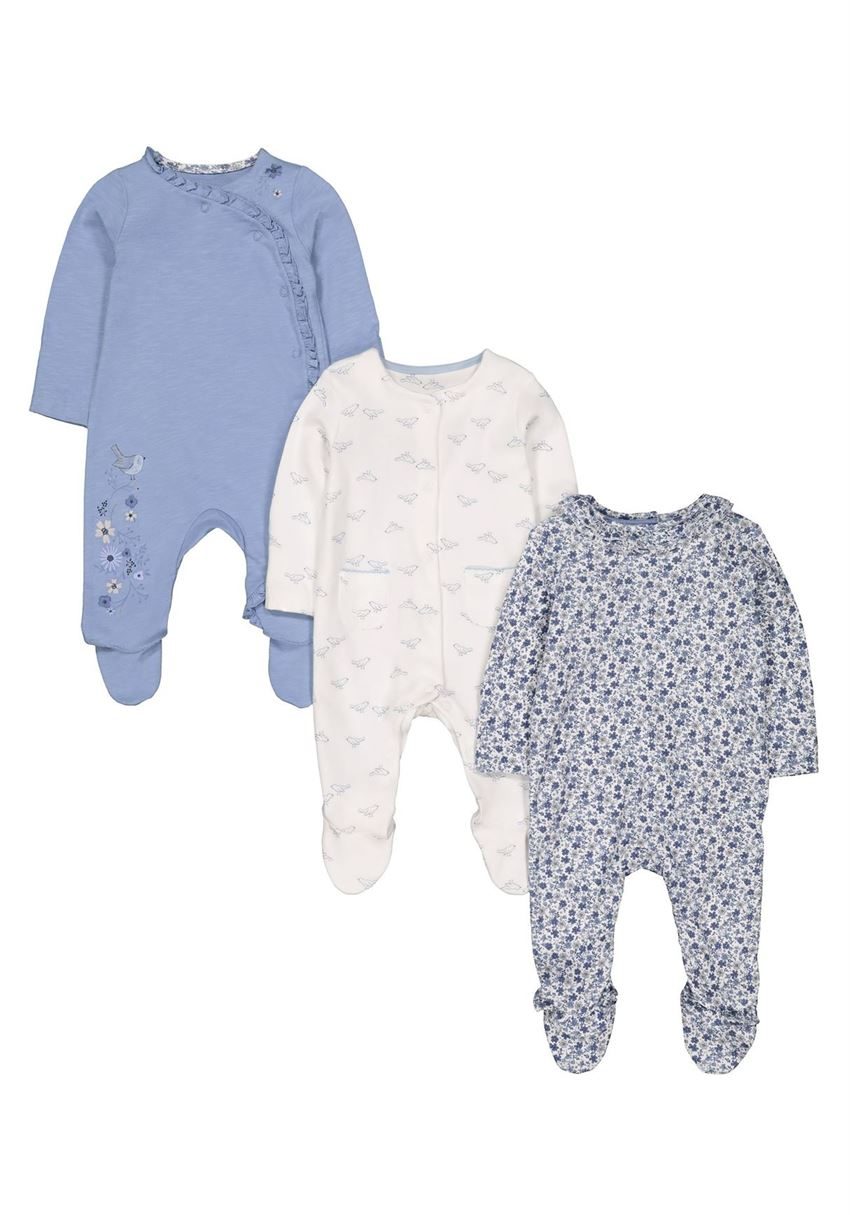 Mothercare Girls Assorted Printed Pack of 3 Sleepsuit