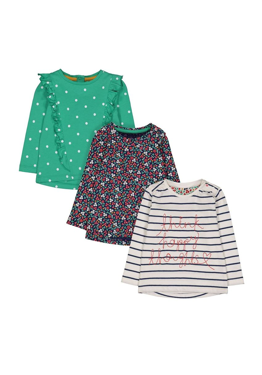 Mothercare Girls Assorted Printed Pack of 3 T-Shirts