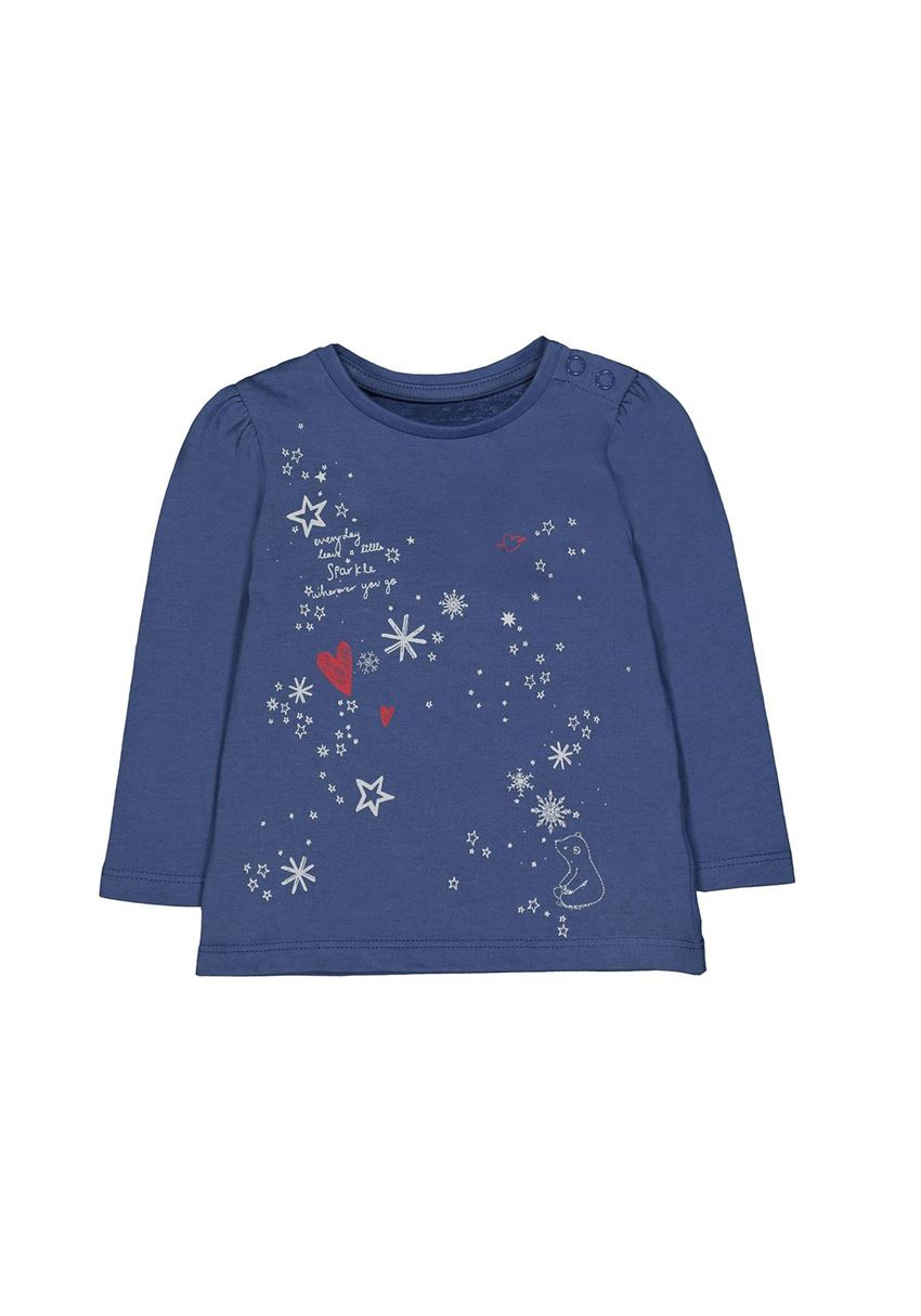 Mothercare Girls Blue Printed T-Shirt