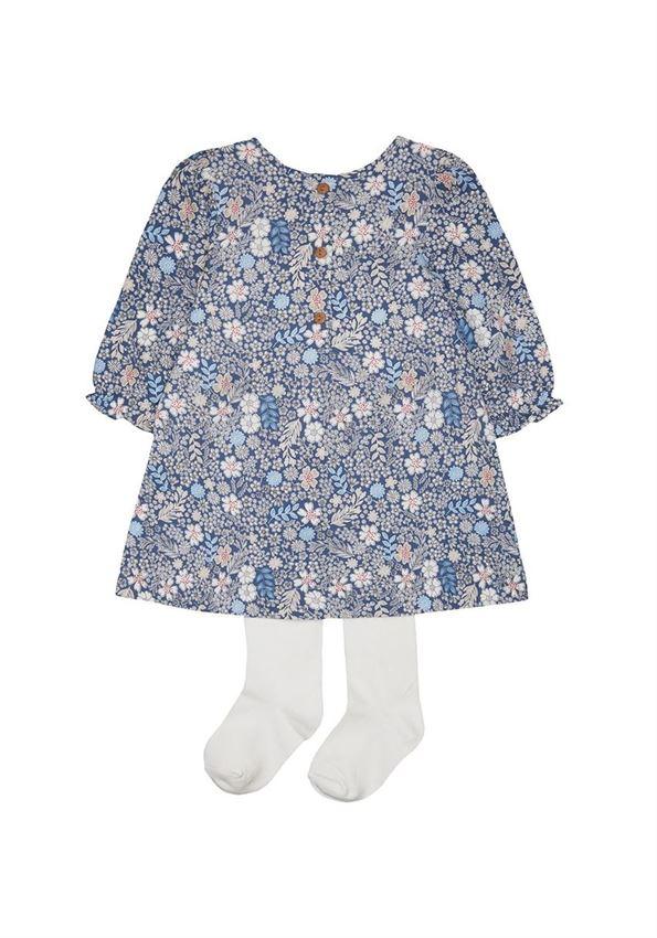 Mothercare Girls Blue Floral Print Dress & Tights Set